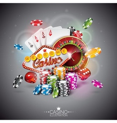 color playing chips and poker cards vector image vector image