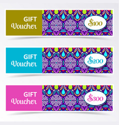 Colorful gift voucher templates vector