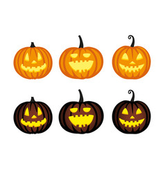 cute halloween pumpkins vector image