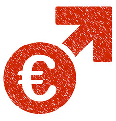 Euro growth icon grunge watermark vector