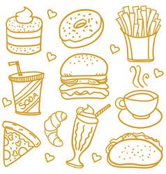 Fast food doodles vector