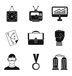Free time activities icon set simple style vector