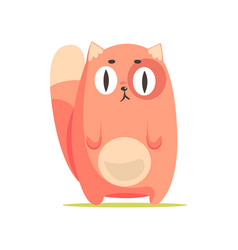 Funny red cat with big eyes cute cartoon animal vector