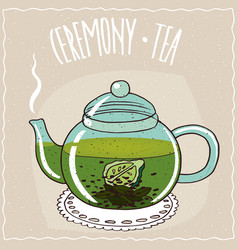 Glass teapot with tea with bergamot vector