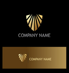 Gold shield company logo vector