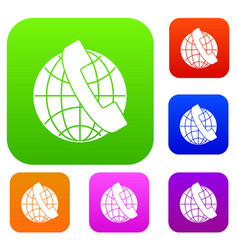 handset and globe set collection vector image vector image