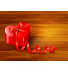 Holiday background with gift red box and red vector image vector image
