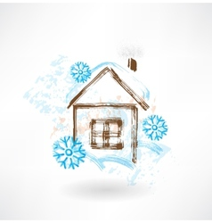 House in snowflakes grunge icon vector image vector image