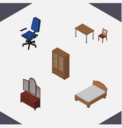 Isometric furniture set of office bedstead chair vector
