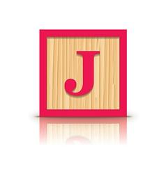 Letter j wooden alphabet block vector