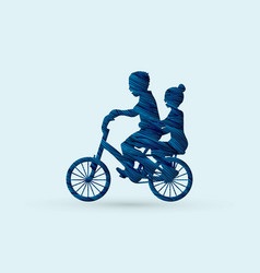 little boy and girl are biking graphic vector image