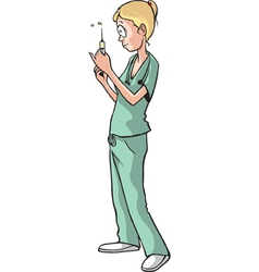 Nurse with syringe vector