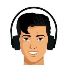 Portrait young man vr technology device vector
