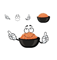 Red caviar bowl cartoon character vector image vector image