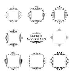 set of eight decorative vintage monograms vector image