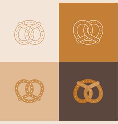 set of pretzel icon vector image vector image