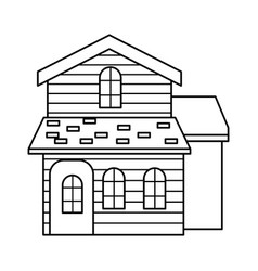 Traditional wooden house swiss architecture style vector