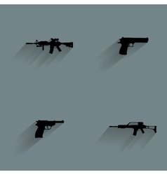 Weapon silhouette icons vector