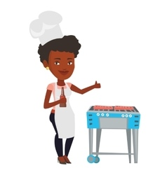 Woman cooking meat on gas barbecue grill vector