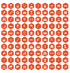 100 horsemanship icons hexagon orange vector