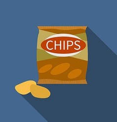 Flat design chips icon with long shadowflat design vector