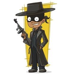 Cartoon bank robber in black mask vector image