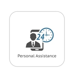 Personal assistance icon flat design vector