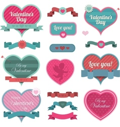 Valentine heart shaped decoration and ribbons vector
