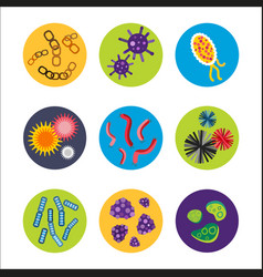Bacteria virus microscopic isolated microbes icon vector