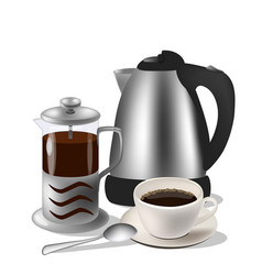 Coffe set kettle french vector