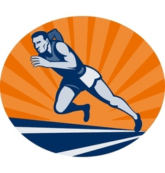 Marathon runner on track with sunburst vector image