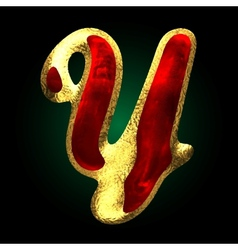 Golden and red letter y vector