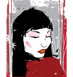 China girl ink illustration vector