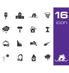 Black disaster icons set on white background vector