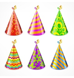 Set of party hats on white vector image