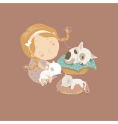 Cute girl with funny kittens and puppy vector image