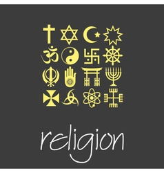 World religions symbols set of green icons eps10 vector