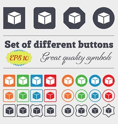 3d cube icon sign big set of colorful diverse vector
