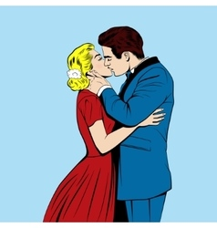 Kissing couple in the pop art comics style vector