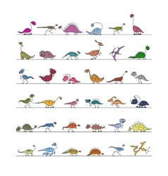 Dinosaurs collection sketch for your design vector