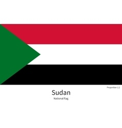 National flag of sudan with correct proportions vector
