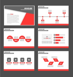 Red and black presentation templates infographic vector
