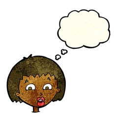 Cartoon shocked expression with thought bubble vector