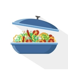 Cooking pan saucepan kitchen food preparation vector