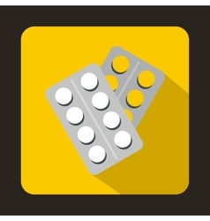 Pills in package icon flat style vector