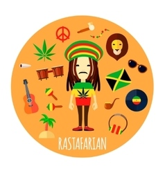 Rastafarian character accessories flat round vector