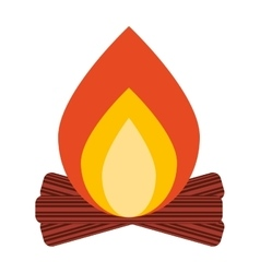 Campfire wood flame icon vector