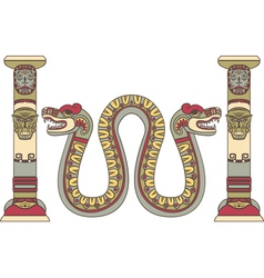 Aztec god as a snake between columns vector image vector image
