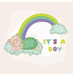 Baby bear on a rainbow - baby shower card vector