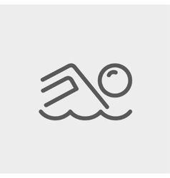 Beach wave thin line icon vector